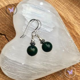 Bloodstone & Silver Earrings